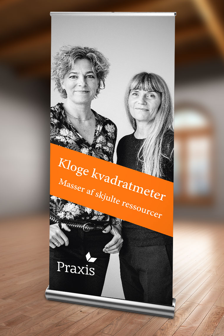 Postkort, flyer, facebook-banner og rollup til KLOGE KVADRATMETER - Design og sats