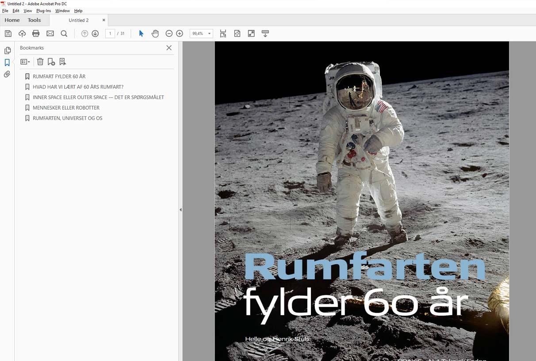 Skærmbillede af pdf e-bog vist i Adobe Acrobat. Med klikbar bookmarks-indholdsfortegnelse i venstre side.