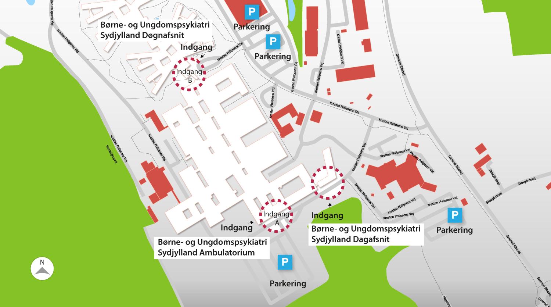 Oversigtkort over Psykiatrien i Region Syddanmark afdeling i Aabenraa.